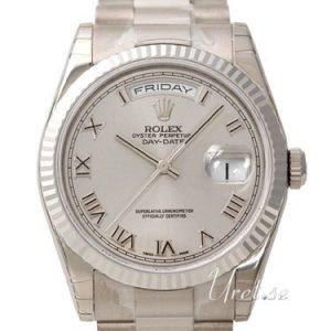 Rolex Day-Date 118239-0082 Kello Hopea / 18k Valkokultaa