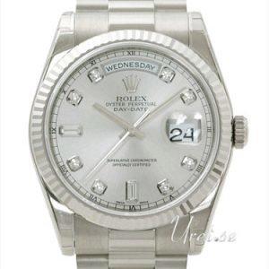 Rolex Day-Date 118239-0086 Kello Hopea / 18k Valkokultaa