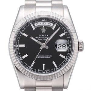Rolex Day-Date 118239-0090 Kello Musta / 18k Valkokultaa