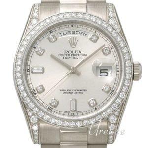 Rolex Day-Date 118389-0008 Kello Hopea / 18k Valkokultaa