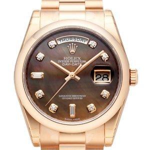 Rolex Day-Date 36 118205f-0005 Kello Musta / 18k Punakultaa