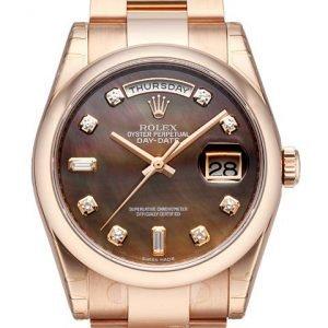 Rolex Day-Date 36 118205f-0057 Kello Ruskea / 18k Punakultaa