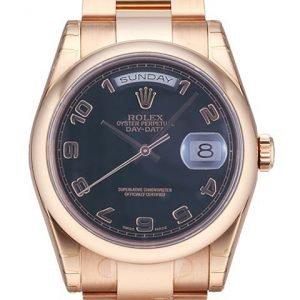 Rolex Day-Date 36 118205f-0059 Kello Musta / 18k Punakultaa
