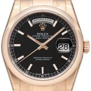 Rolex Day-Date 36 118205f-0060 Kello Musta / 18k Punakultaa