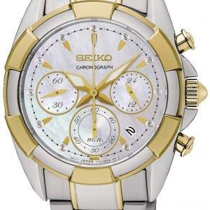 Seiko Chronograph Srw808p1 Kello Valkoinen / Kullansävytetty