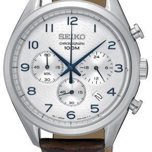 Seiko Chronograph Ssb229p1 Kello Valkoinen / Nahka