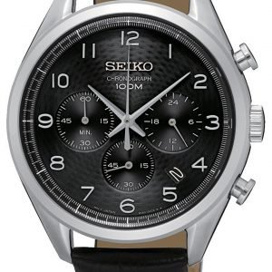 Seiko Chronograph Ssb231p1 Kello Musta / Nahka