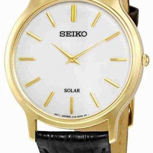 Seiko Solar Sup872p1 Kello Valkoinen / Nahka