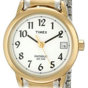 Timex Easy Reader T2h381 Kello Valkoinen / Kullansävytetty