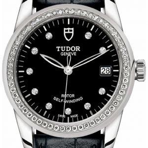 Tudor Glamour Date 55020-0053 Kello Musta / Nahka